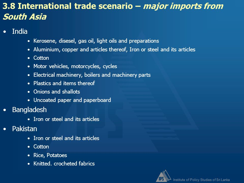 3.8 International trade scenario – major imports from South Asia