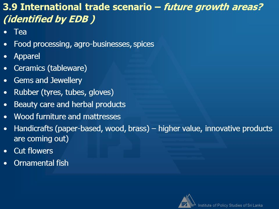 3. 9 International trade scenario – future growth areas