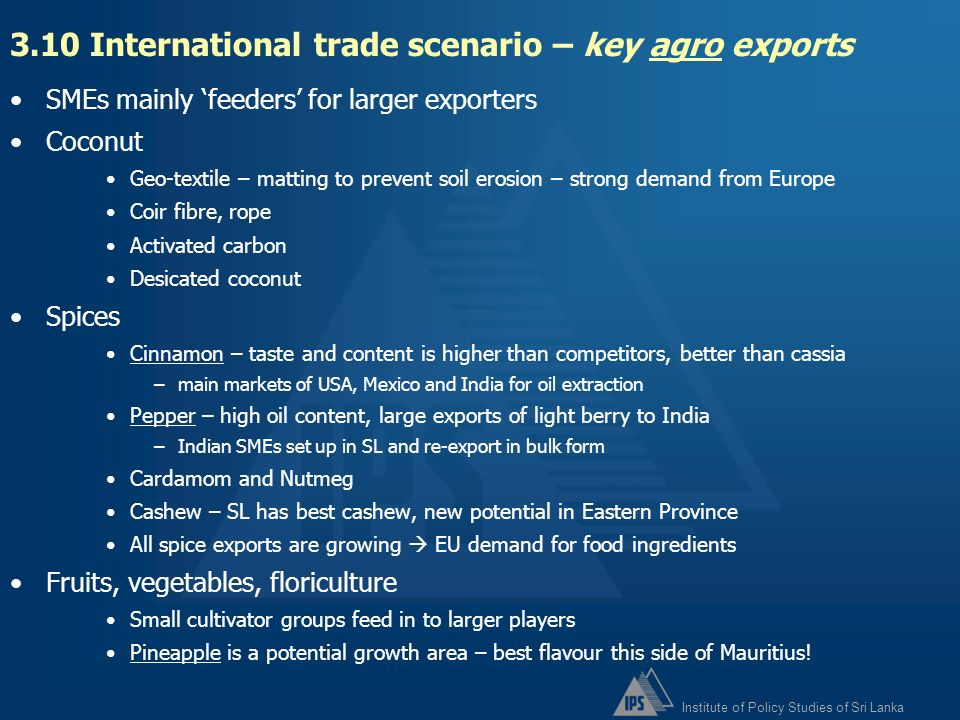3.10 International trade scenario – key agro exports