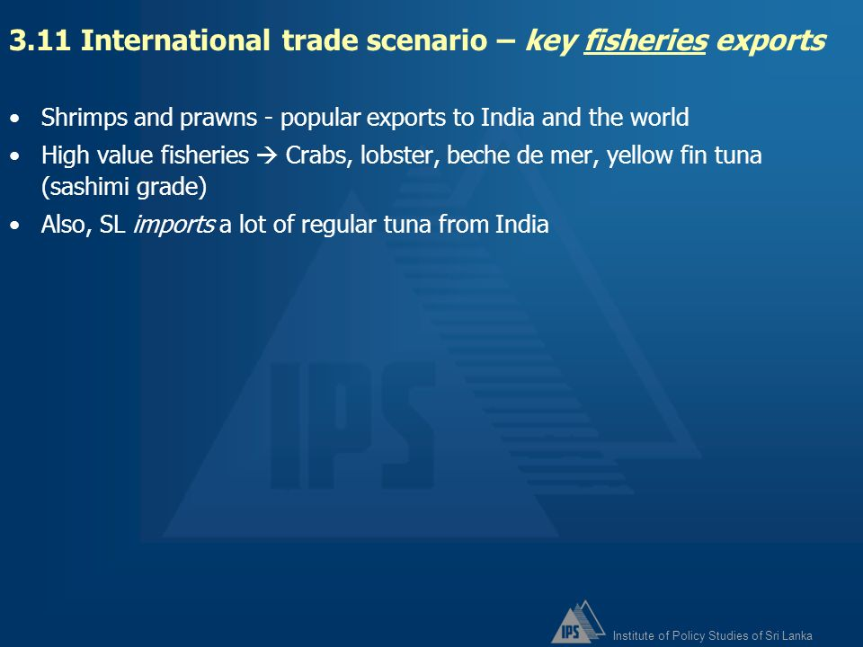 3.11 International trade scenario – key fisheries exports