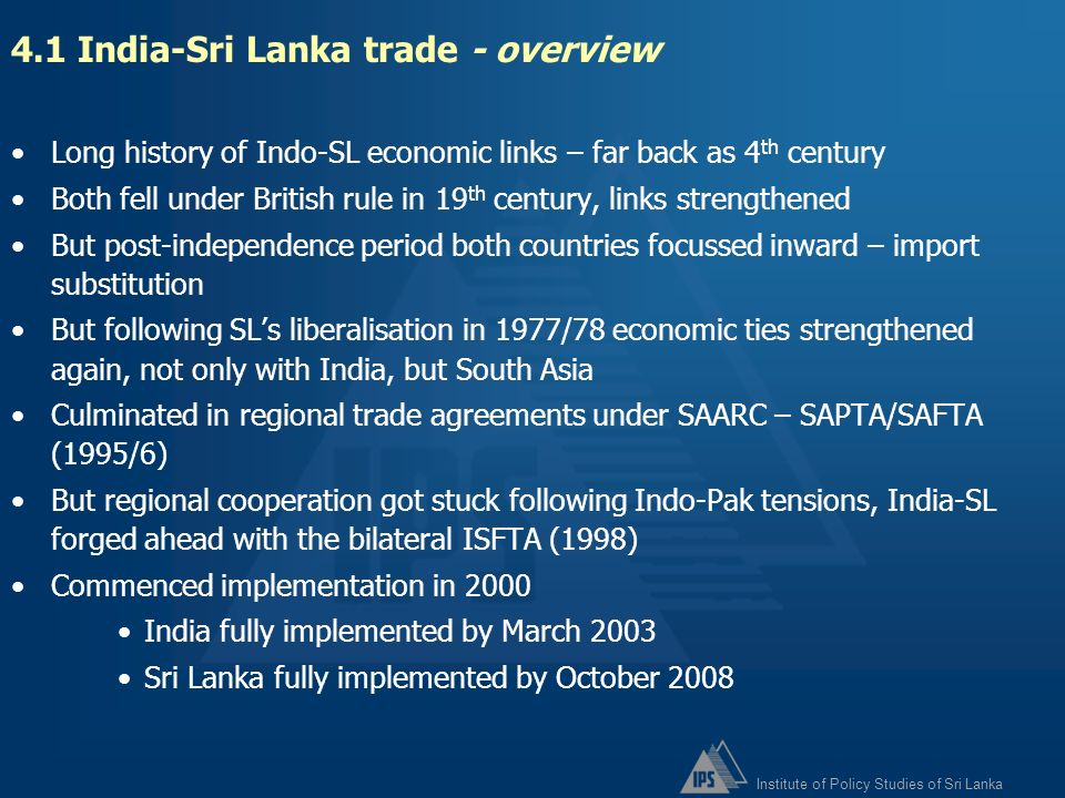 4.1 India-Sri Lanka trade - overview