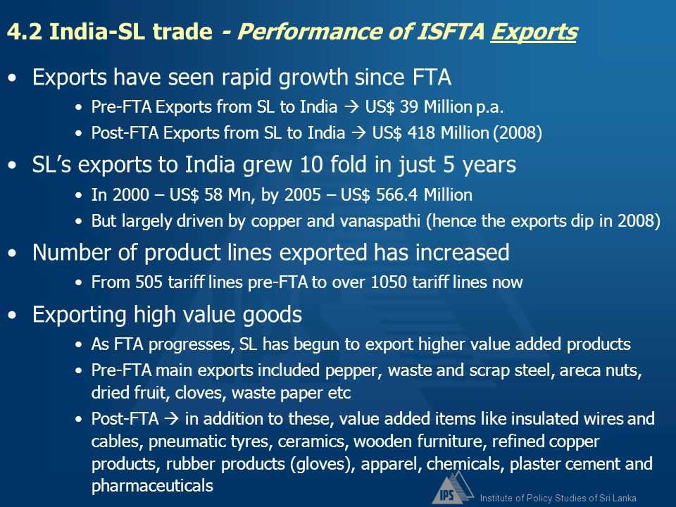 4.2 India-SL trade - Performance of ISFTA Exports