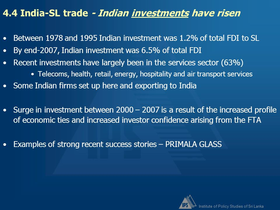 4.4 India-SL trade - Indian investments have risen