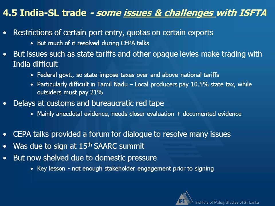 4.5 India-SL trade - some issues & challenges with ISFTA