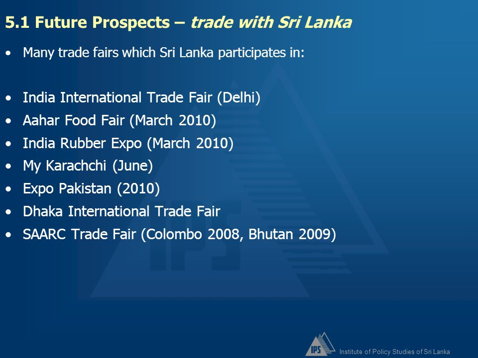 5.1 Future Prospects – trade with Sri Lanka