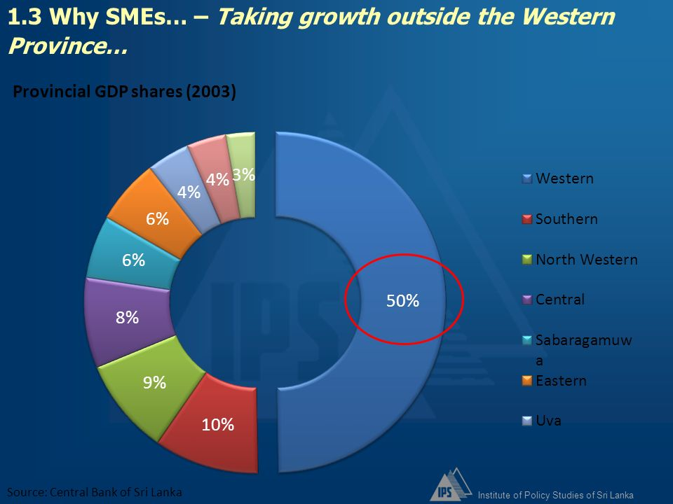 1.3 Why SMEs… – Taking growth outside the Western Province…