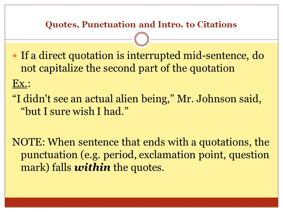 punctuations and quotations