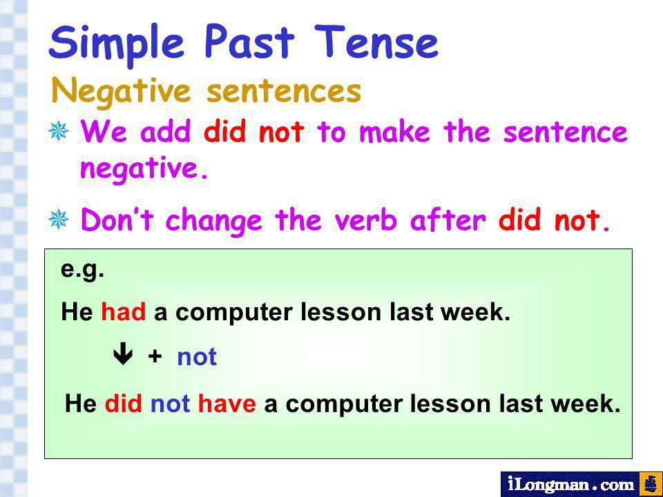 Simple Past Tense Negative sentences