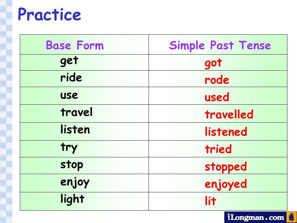 Base Form Simple Past Tense