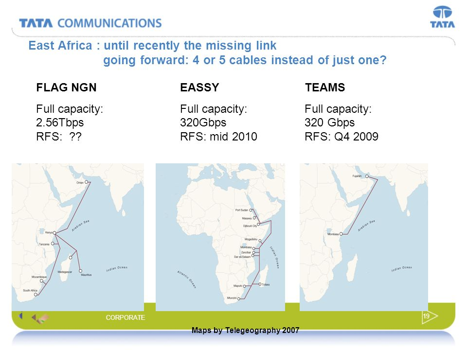 East Africa : until recently the missing link going forward: 4 or 5 cables instead of just one