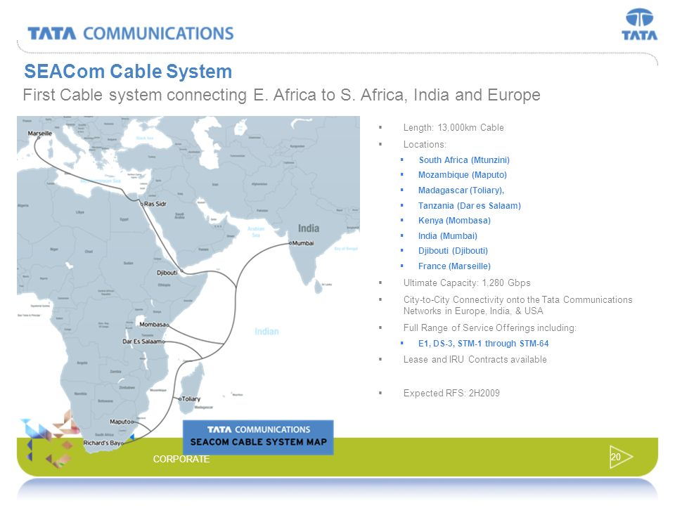 SEACom Cable SystemFirst Cable system connecting E. Africa to S. Africa, India and Europe. Length: 13,000km Cable.