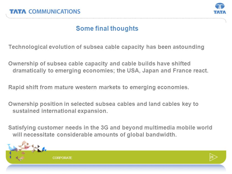 Some final thoughts Technological evolution of subsea cable capacity has been astounding.