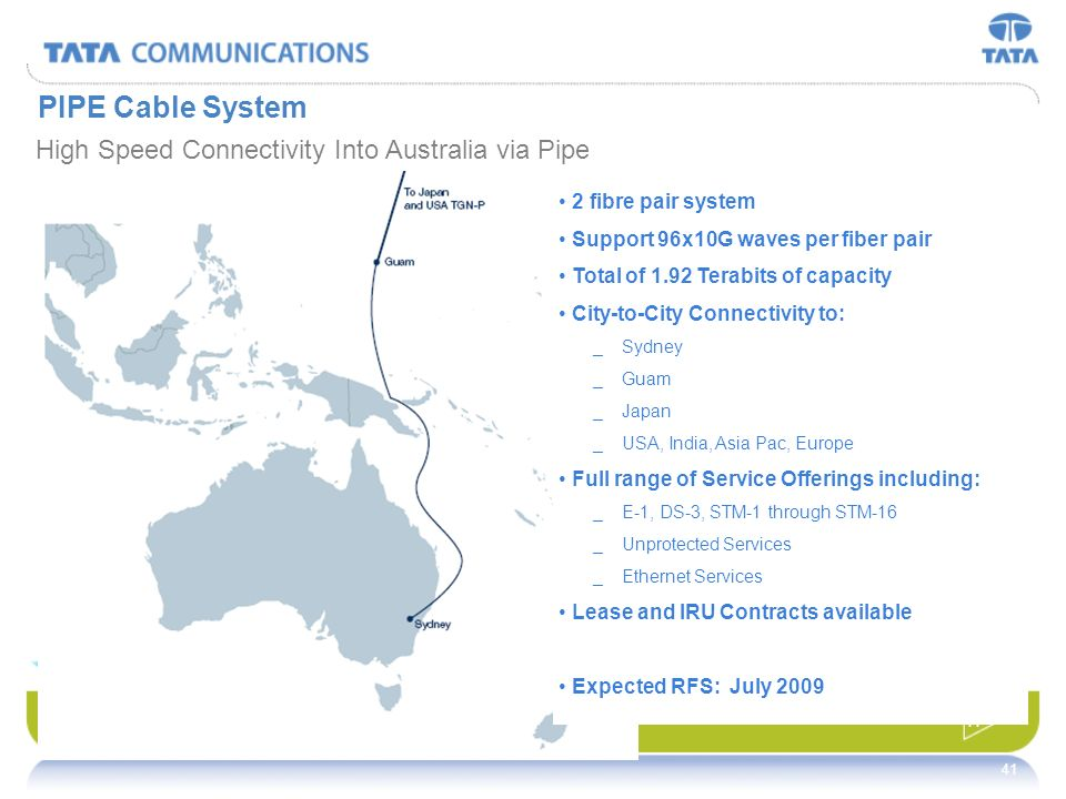 PIPE Cable System High Speed Connectivity Into Australia via Pipe