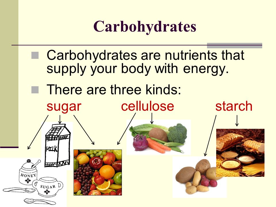 Carbohydrates Carbohydrates are nutrients that supply your body with energy. There are three kinds: