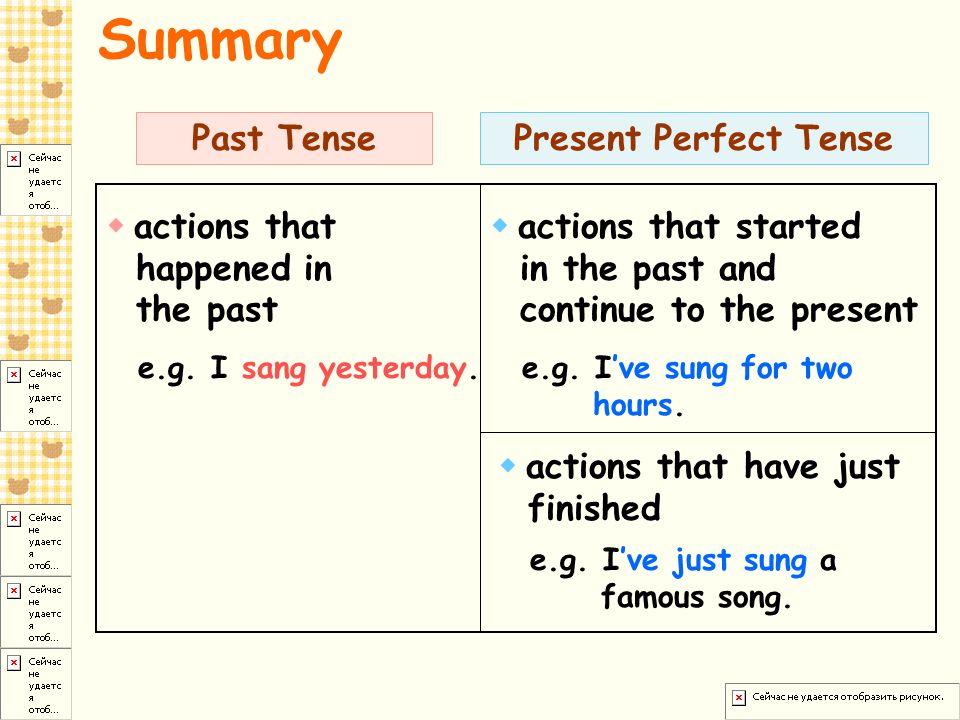 Summary Past Tense Present Perfect Tense