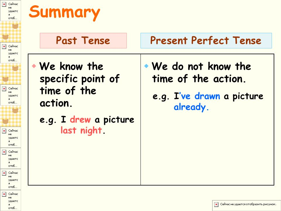 Summary Past Tense Present Perfect Tense