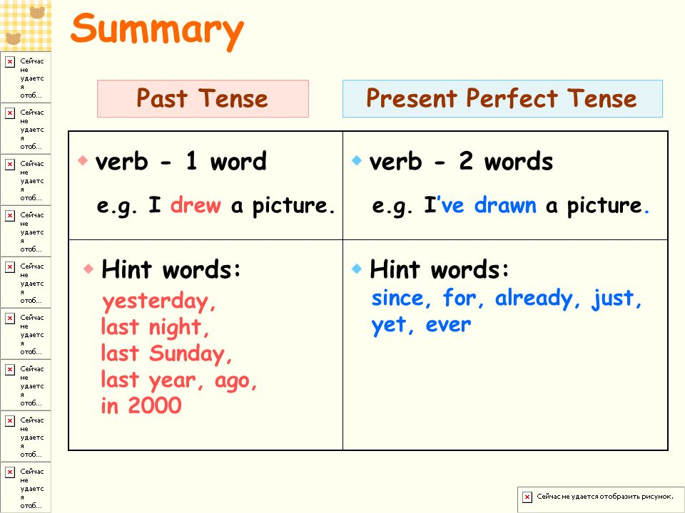 past tense summary