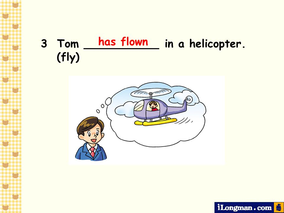 has flown 3 Tom ___________ in a helicopter. (fly)