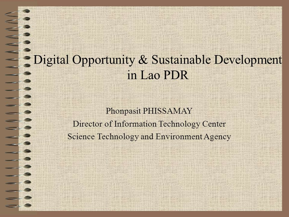 Digital Opportunity & Sustainable Development in Lao PDR