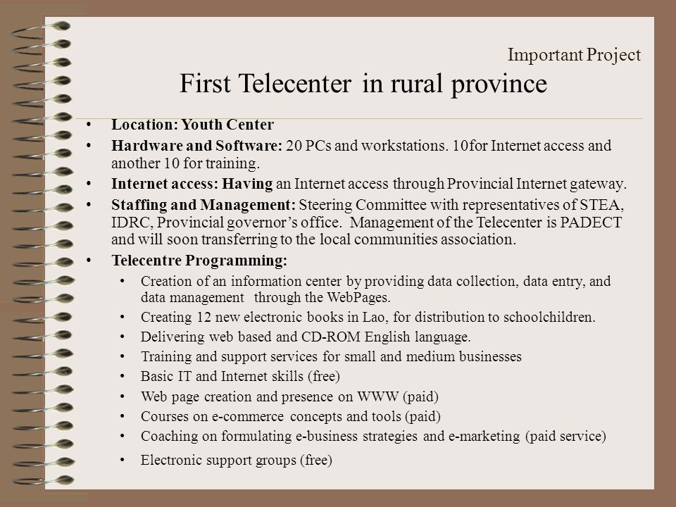 First Telecenter in rural province