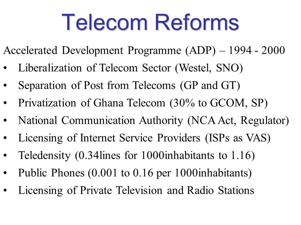 Telecom Reforms Accelerated Development Programme (ADP) – 1994 - 2000