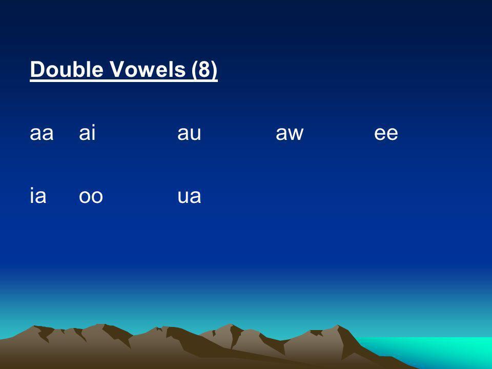 Double Vowels (8) aa ai au aw ee ia oo ua