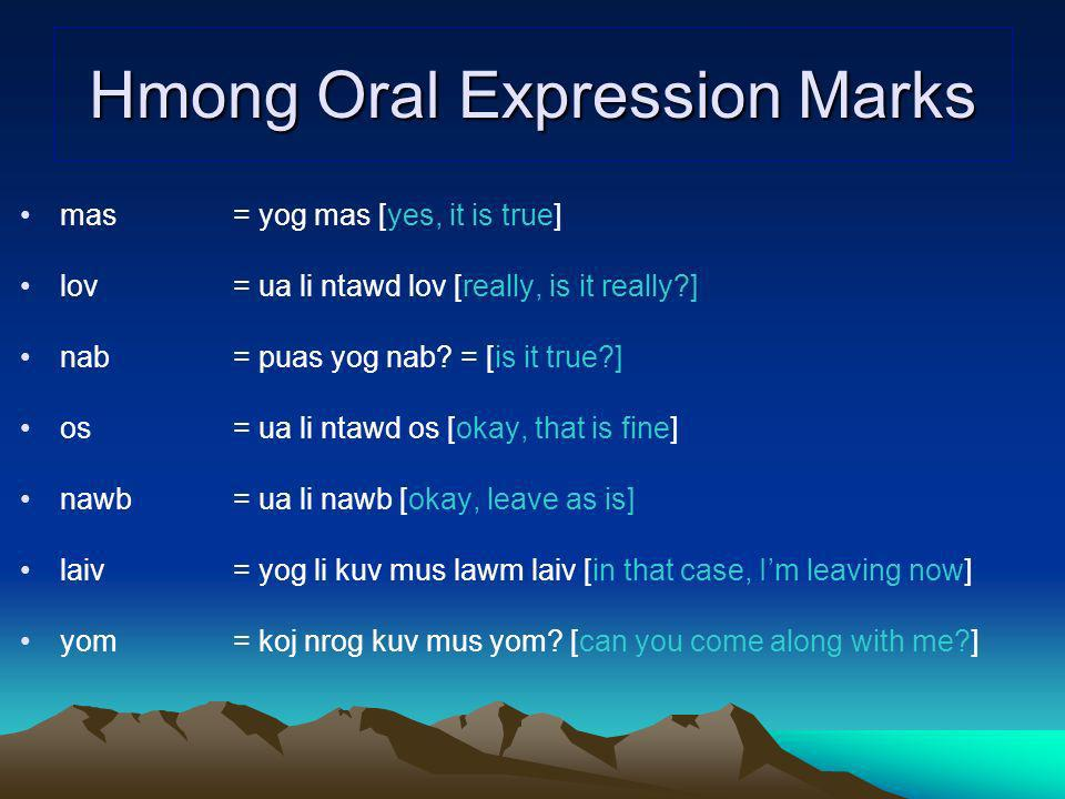 Hmong Oral Expression Marks
