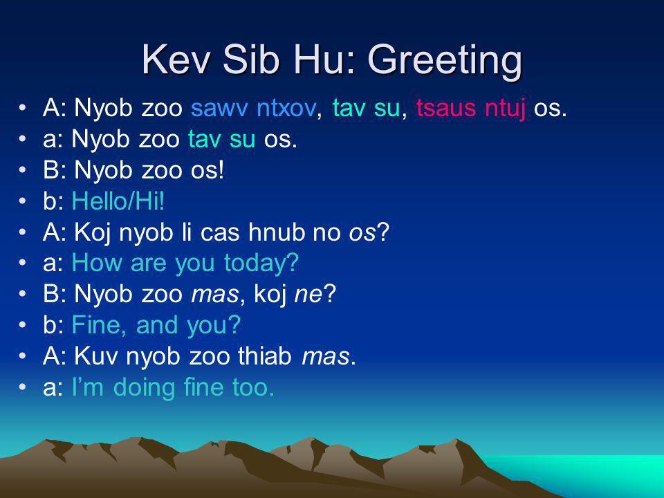 Kev Sib Hu: Greeting A: Nyob zoo sawv ntxov, tav su, tsaus ntuj os.