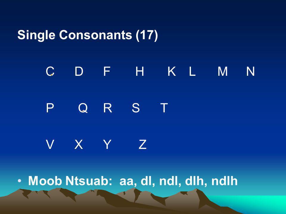 Single Consonants (17) C D F H K L M N.