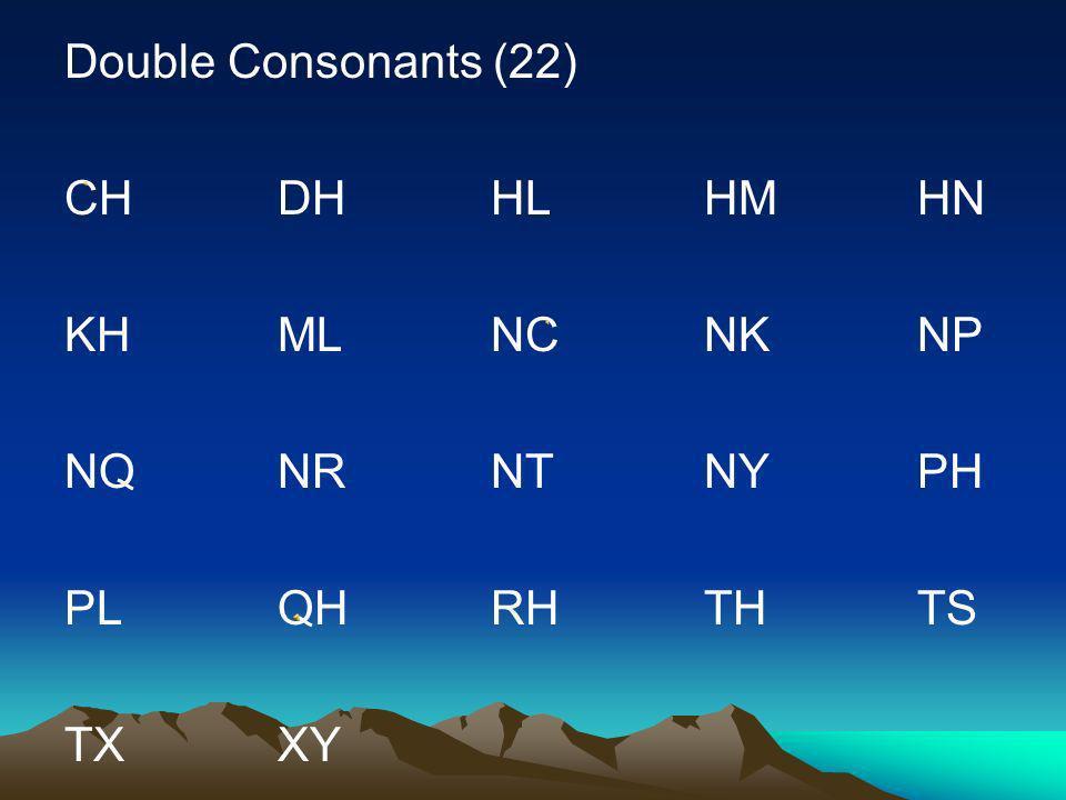 Double Consonants (22) CH DH HL HM HN. KH ML NC NK NP. NQ NR NT NY PH. PL QH RH TH TS.