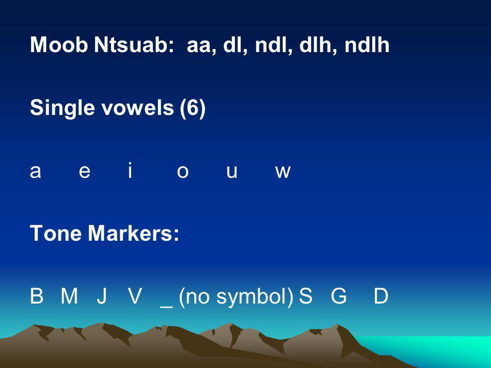 Moob Ntsuab: aa, dl, ndl, dlh, ndlh Single vowels (6) a e i o u w Tone Markers: B M J V _ (no symbol) S G D