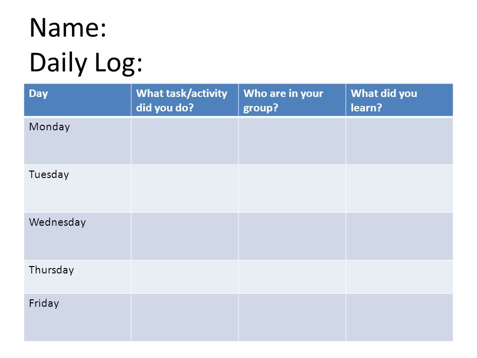 Name: Daily Log: Day What task/activity did you do