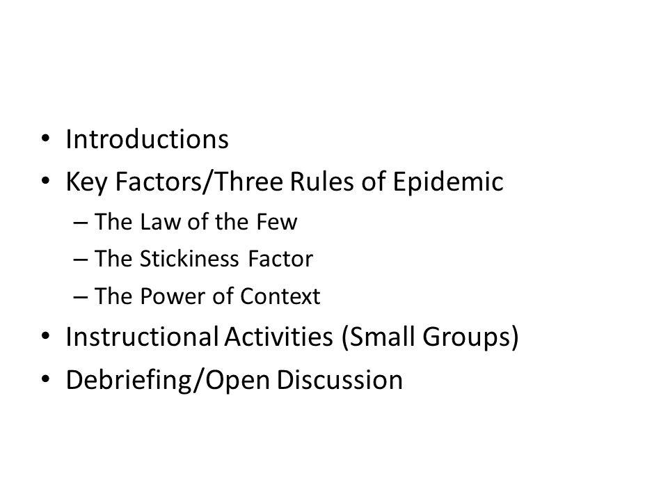 Key Factors/Three Rules of Epidemic