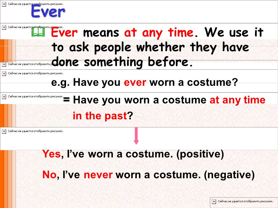 Ever  Ever means at any time. We use it to ask people whether they have done something before.