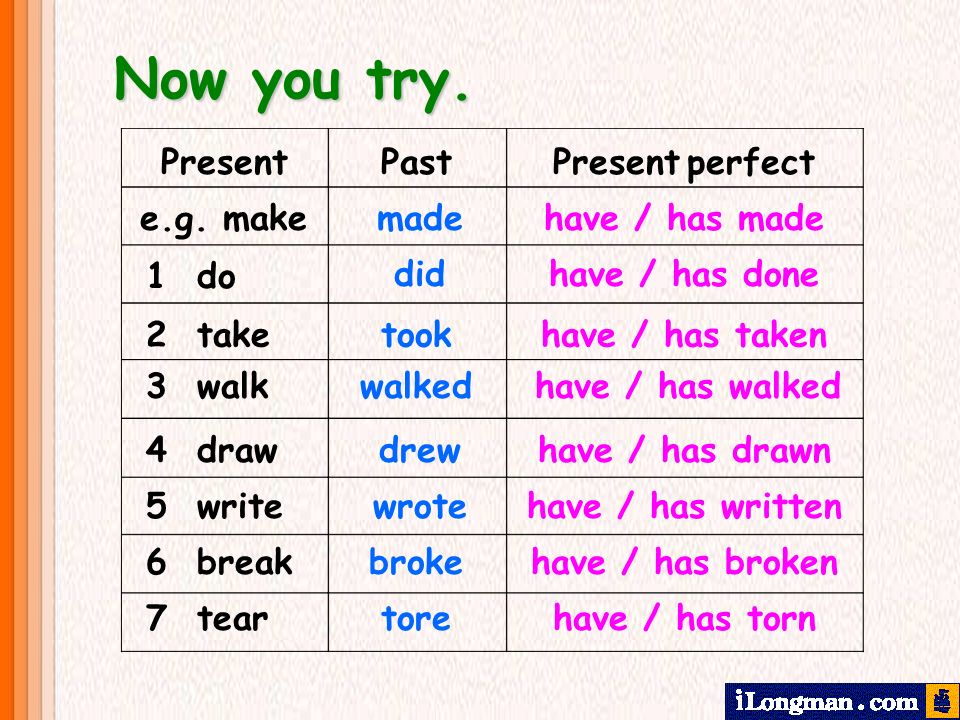 Now you try. Present Past Present perfect e.g. make made