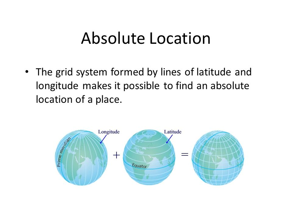 Absolute Location The grid system formed by lines of latitude and longitude makes it possible to find an absolute location of a place.