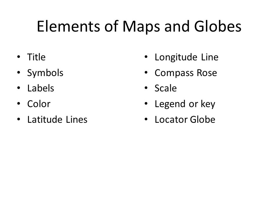 Elements of Maps and Globes