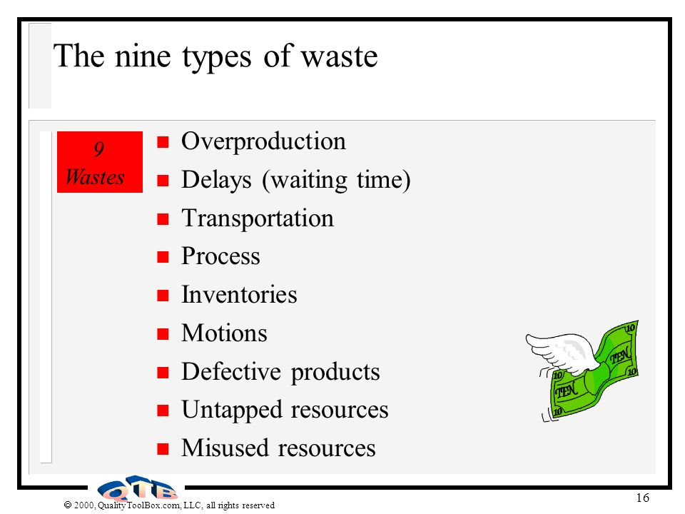 The nine types of waste Overproduction Delays (waiting time)