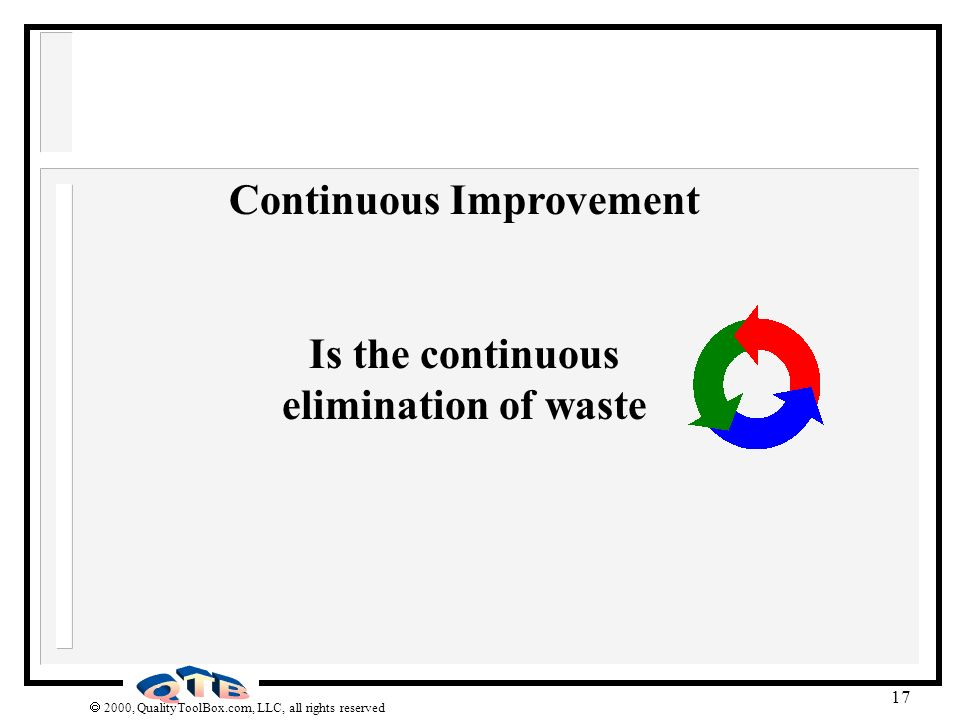 Continuous Improvement Is the continuous elimination of waste