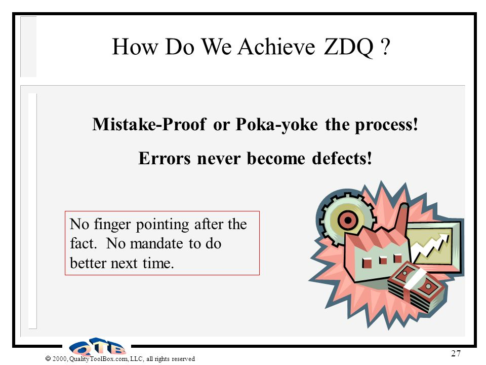 Mistake-Proof or Poka-yoke the process! Errors never become defects!