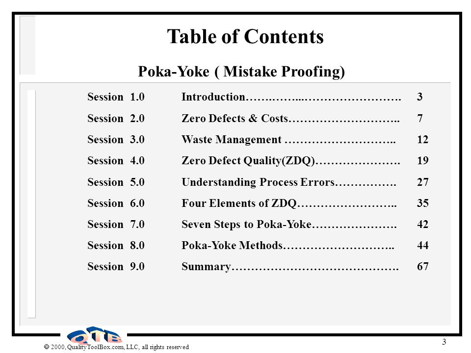 Poka-Yoke ( Mistake Proofing)