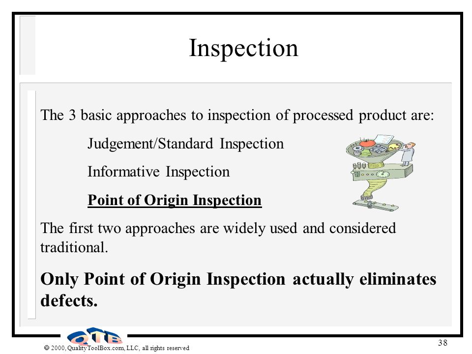 Inspection The 3 basic approaches to inspection of processed product are: Judgement/Standard Inspection.