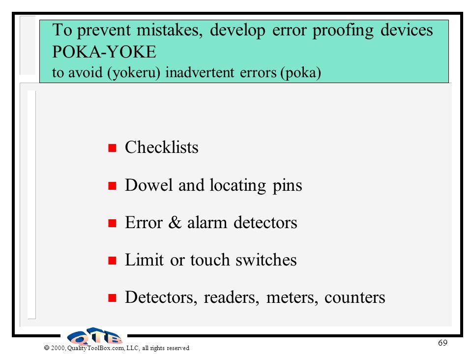 Dowel and locating pins Error & alarm detectors