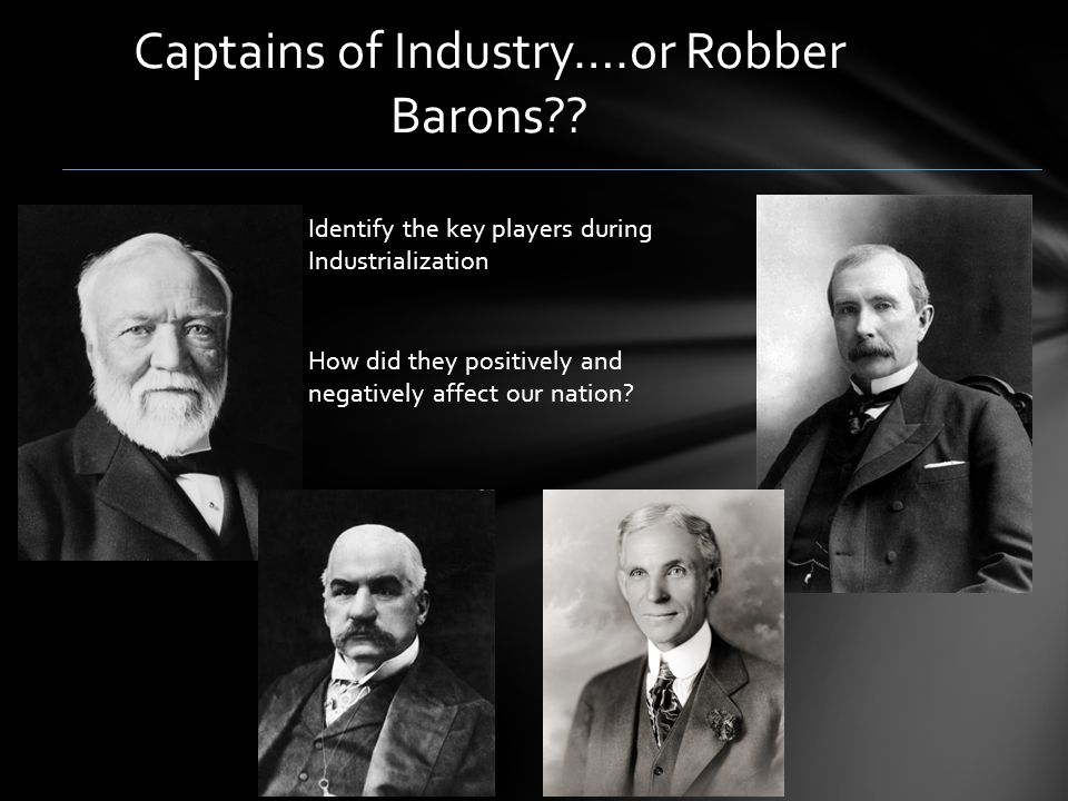 "?captain of industry or robber baron: j.p. morgan essay captain of industry or robber baron: jp morgan essay sample jp morgan was a post-civil war ""captain of industry,"" separating him from the other ""greats"" such as cornelius vanderbilt, john d rockefeller, and andrew carnegie because of his motives and his upbringing."