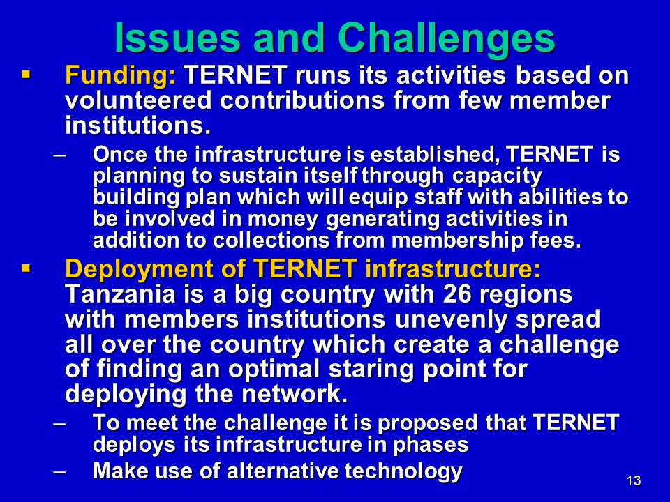 Issues and Challenges Funding: TERNET runs its activities based on volunteered contributions from few member institutions.