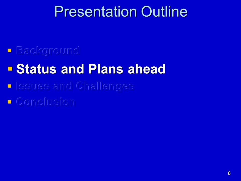 Presentation Outline Status and Plans ahead Background