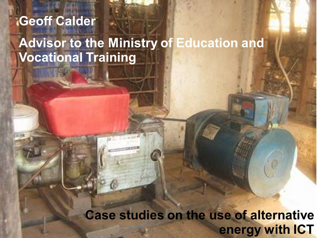 Geoff Calder Advisor to the Ministry of Education and Vocational Training.