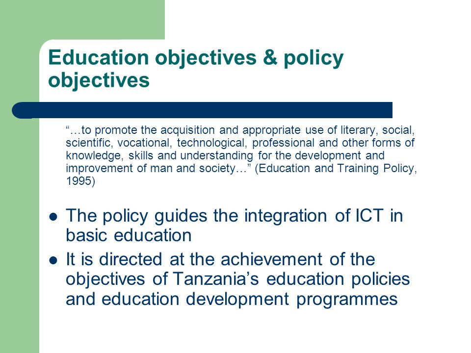 Education objectives & policy objectives