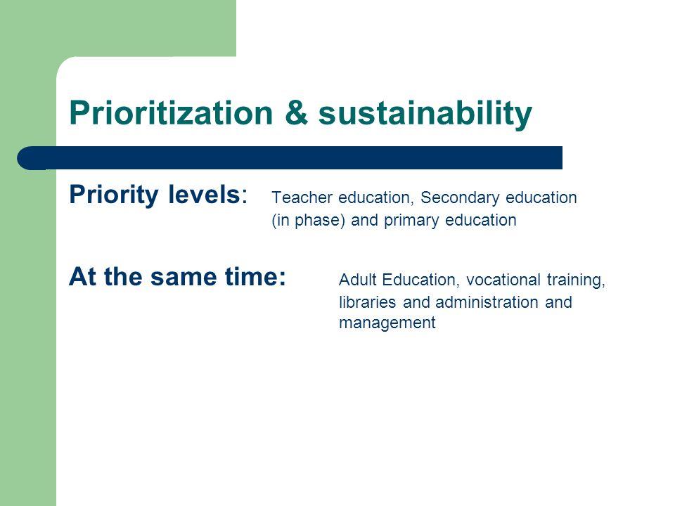 Prioritization & sustainability