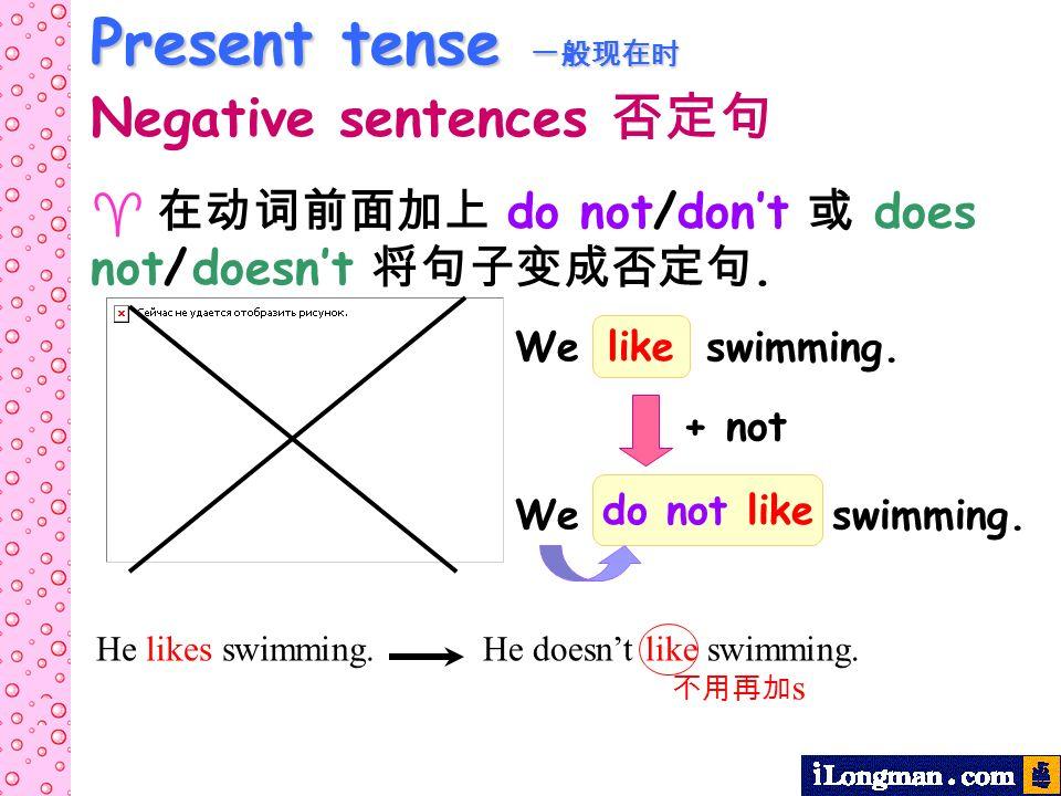 Present tense 一般现在时 Negative sentences 否定句